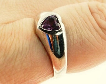 SALE: Amethyst Heart Ring - Sterling Silver