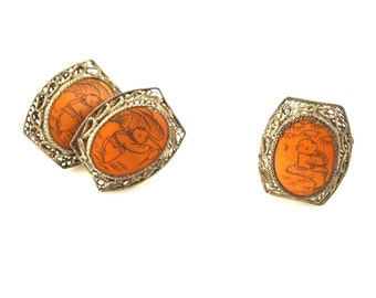 SALE: Chinese Scrimshaw Ring and Earrings Set - Vintage