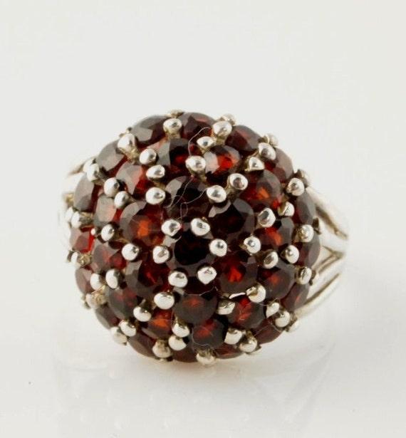 SALE: Garnet Sterling Ring - Vintage - Boho