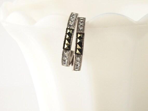 SALE: Judith Jack Sterling Marcasite Hoop Earrings