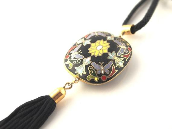 Cloisonne Butterfly Necklace - Vintage