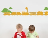 Train with Clouds Decal set - Kids Vinyl Wall Sticker