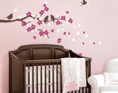 Cherry Blossom Branch with Birds - Kids Vinyl Wall Sticker Decal Set