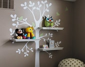 Wall Decals Baby Nursery Decor: Shelving Tree Decal with Birds - Original Wall Decal - SimpleShapes