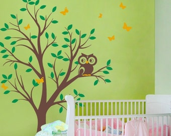 Tree with Owl and Butterflies - Children's Vinyl Wall Sticker