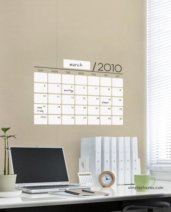 Office Calendar Wall : Vinyl wall sticker decal calendar dry erase