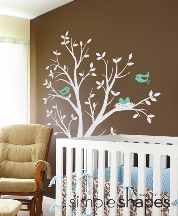 THE ORIGINAL Tree with Birds and Nest Decal - Kids Vinyl Wall Sticker