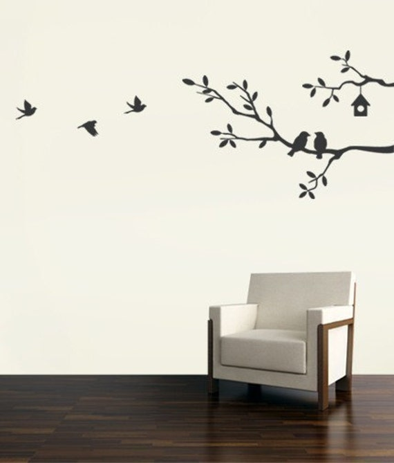 cute birds and branches decal vinyl wall sticker