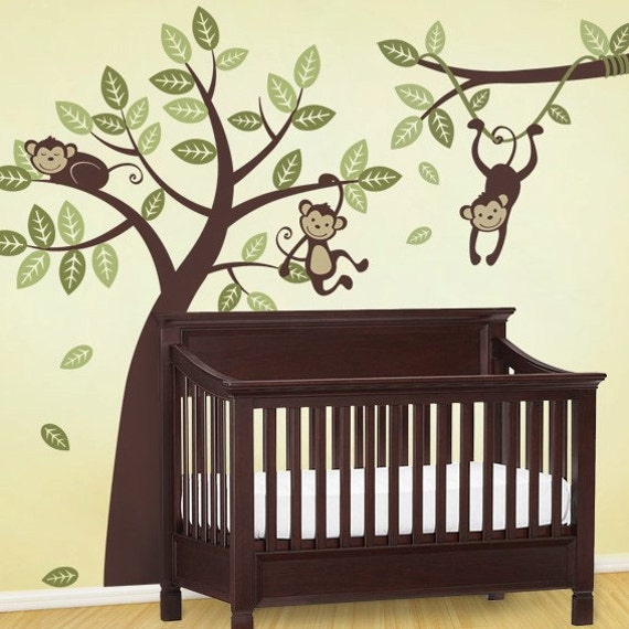 tree and branch vine with monkeys kids vinyl wall sticker. Black Bedroom Furniture Sets. Home Design Ideas