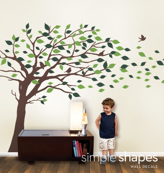 Wall Decals Tree Wall Decal Elegant Style Blowing By
