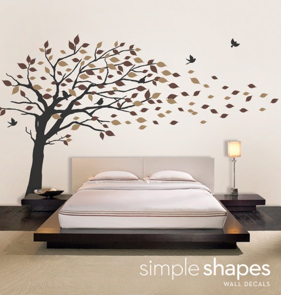 Wall Art Stickers Dunelm : Vinyl wall art decal sticker blowing leaves tree by