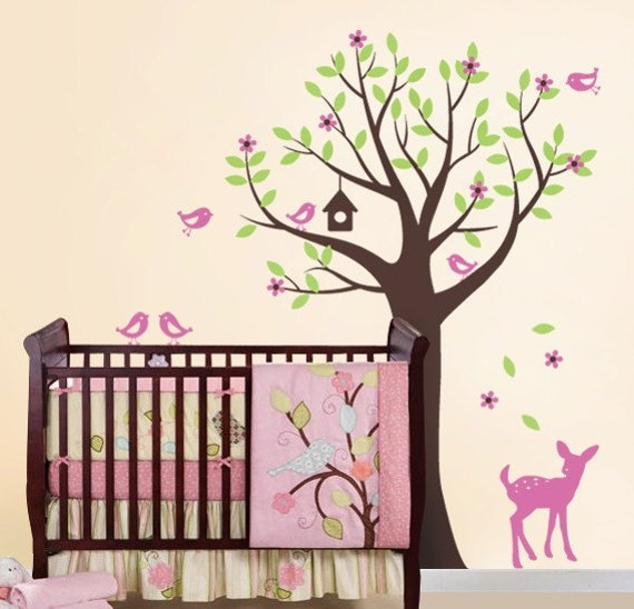 Tree with Birds and Fawn Decal Set - Kid's Nursery Room Wall Sticker