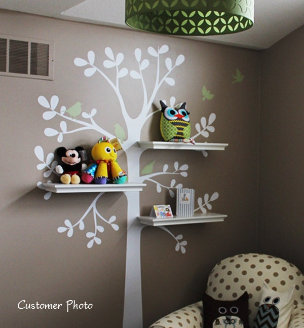 Wall decals baby nursery decor shelving tree by simpleshapes for Baby nursery mural