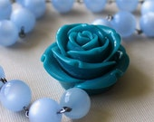 Pastel Statement Necklace Soft Blue Deep Turquoise Carved Rose Pendant, Tahitian