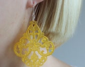 Yellow Earrings, Filigree Earrings, Lucite and Sterling Silver, Lemonade