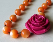 SALE Orange Statement Necklace Tangerine Lucite Fuchsia Hot Pink Carved Rose,Tropical Punch