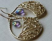 Amethyst Earrings Gold Chandelier Light Purple Amethyst , Purple Haze-Gift Under 30