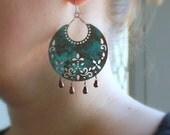 Tribal Statement Earrings Southwestern Jewelry Turquoise Patina Medallion Glass Teardrop, Shield-Gift Under 25