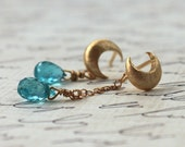 Asymmetrical Earrings, Gold Moon Posts, Teal Blue Apatite, Celestial-Spring Fashion, Last Pair