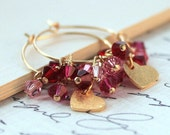 ChristmasInJuly Sale-Heart Charm Earrings, Swarovski Crystal Earrings, Gold Filled Hoops, Sweetheart, Bridal Fashion