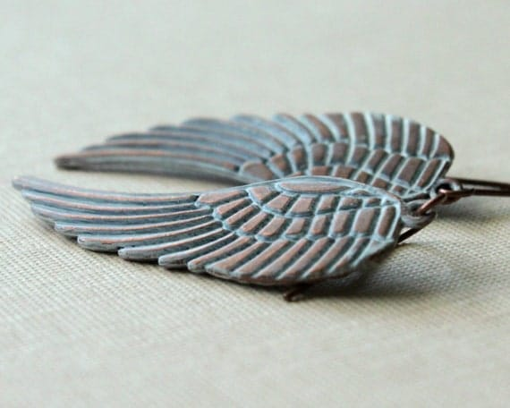 Feather Earrings Copper Wing White Patina Boho Jewelry Modern Minimalist Fashion Gift Under 25, Flight