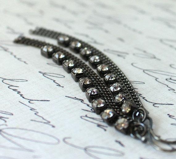 30% ANNIVERSARY SALE Rhinestone Earrings Crystal Earrings Black Modern Urban Fashion, Glitz-Gift Under 25