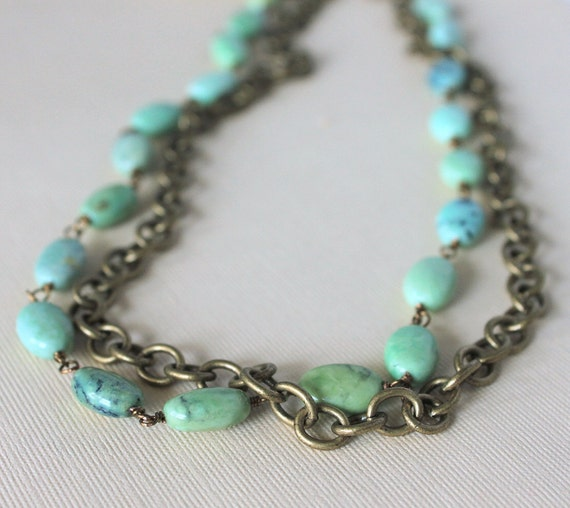 Turquoise Statement Necklace Green Brown Brass Necklace Southwest Jewelry Boho Fashion, Santa Fe