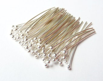 100pcs - 26 Gauge - Fine Silver Headpins - Choose Your Length - Tagt Team