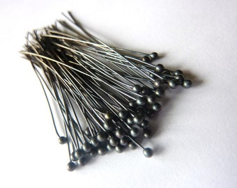 50pcs -  Oxidized Fine Silver Headpins - 26 Gauge - Choose your Length