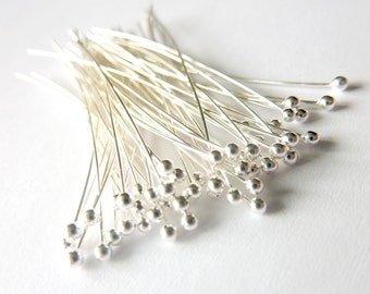 100pcs - 28 Gauge Fine Silver Headpins  - Choose Your Length  - Tagt Team