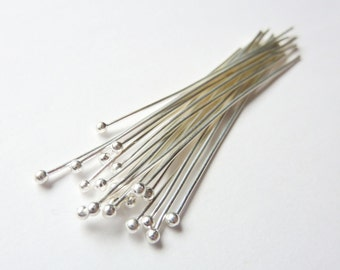 10pcs - 26 Gauge - Silver Headpins - Choose Your Length