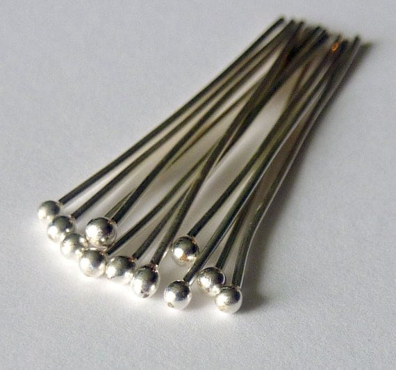 10 Fine Silver Headpins 1.5 inches long - 20 Gauge