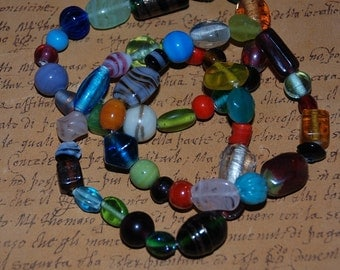 Three Multicolored Glass Bead Bracelets -Great Holiday Gift-