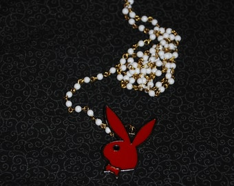 Playboy LONG Rosary-Style Necklace -Great Holiday Gift-
