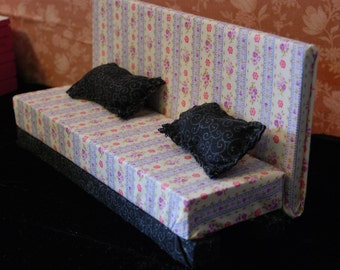 Floral Stiped Fabric Blythe Doll Couch With Pillows For Blythe Pullip BJD Barbie Dolls