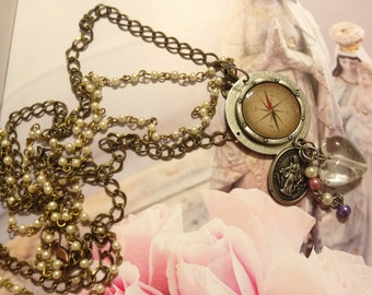 Holy Is Thy Compass Necklace -Great Holiday Gift- Steampunk Vintage Travelers Jewelry