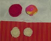 4 Crocheted Flowers in yarn and thread