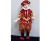Kit, Tudor Boy  dress a 12th scale dolls house doll, all materials, instructions and porcelain doll Red and Gold