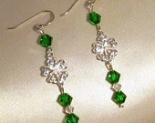 Sterling Silver St. Patrick's Day Clover and Crystal Earrings