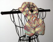 Knitted Keyhole Bow Tie Neck Warmer Scarf in Self Patterning Holiday Poinsettia Colors