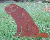 St. Bernard Garden Stake or Wall Hanging / Pet Memorial / Garden Art / Garden Decor / Yard Art / Lawn Ornament / Metal / Outdoor / Rusty