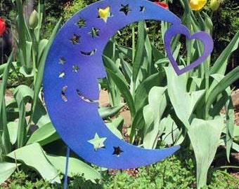 Moon Garden Stake / Blue Moon Garden Art / Yard Art / Metal Garden Art / Garden Decor / Garden Ornament