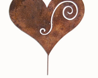 Heart Garden Stake or Wall Hanging, Yard, Art, Garden, Decoration, Lawn, Ornament, Metal, Rust, Decorative, Wall, Hanging, Outdoor, Iron