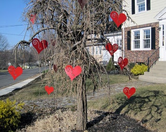 Heart Ornaments (set of 3) / Garden Art / Garden Decor / Christmas Ornament / Valentine's Day