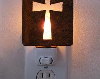Cross Night Light (Rustic) / Religious / Lighting / Gift / Confirmation / Communion / Decorative / Lighting / Celtic / Catholic / Metal