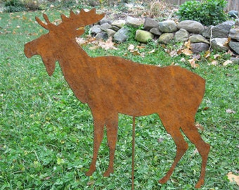 Moose Garden Stake or Wall Hanging / Garden Art / Lawn Ornament / Yard Art / Rustic / Cabin / Metal  / Wall / Hanging / Shadow / Cut Out