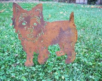 Yorkshire Terrier Garden Stake or Wall Art / Memorial / Garden Art / Garden Decor / Yorkie / Rusty / Lawn / Silhouette / Metal / Outdoor