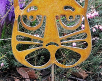 Cat Head Plant Stake / Garden Decor / Rustic Decor / Garden Art / Yard Art / Metal Garden Art / Cat / Outdoor Decor