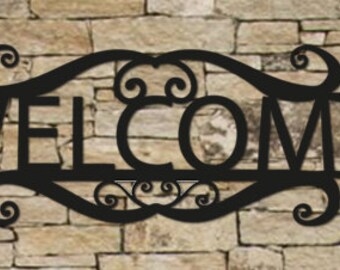 20 Inch Welcome Sign, Wall Art, House Sign, Metal, Sir, Family, Name Sign, Numbers, Sign, metal, wall, art, Hanging, Black, Rust, Iron