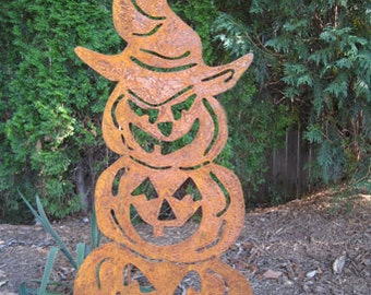 Three Stacked Pumpkins Garden Stake / Halloween Decoration / Jack O Lantern / Scary / Metal / Outdoor / Lawn Ornament / Giant / Large / Wall